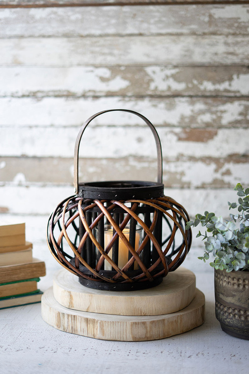 Round Brown Willow Lanterns with Wooden Handle - Small