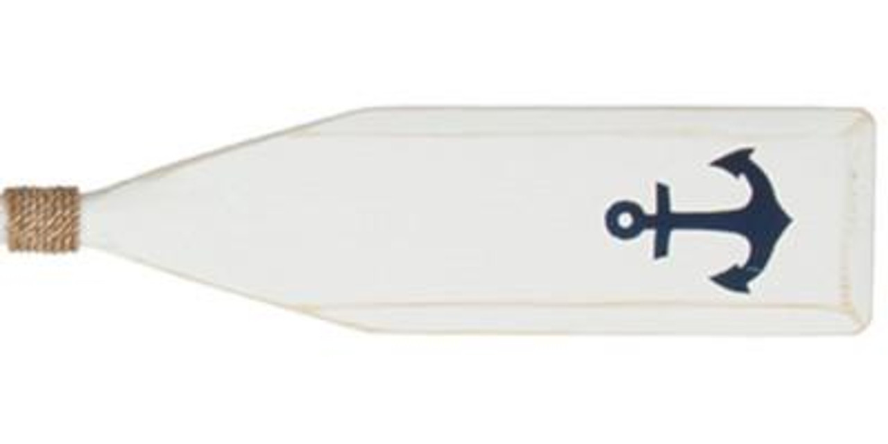Hand Painted Wood Paddle With Rope White - Anchor