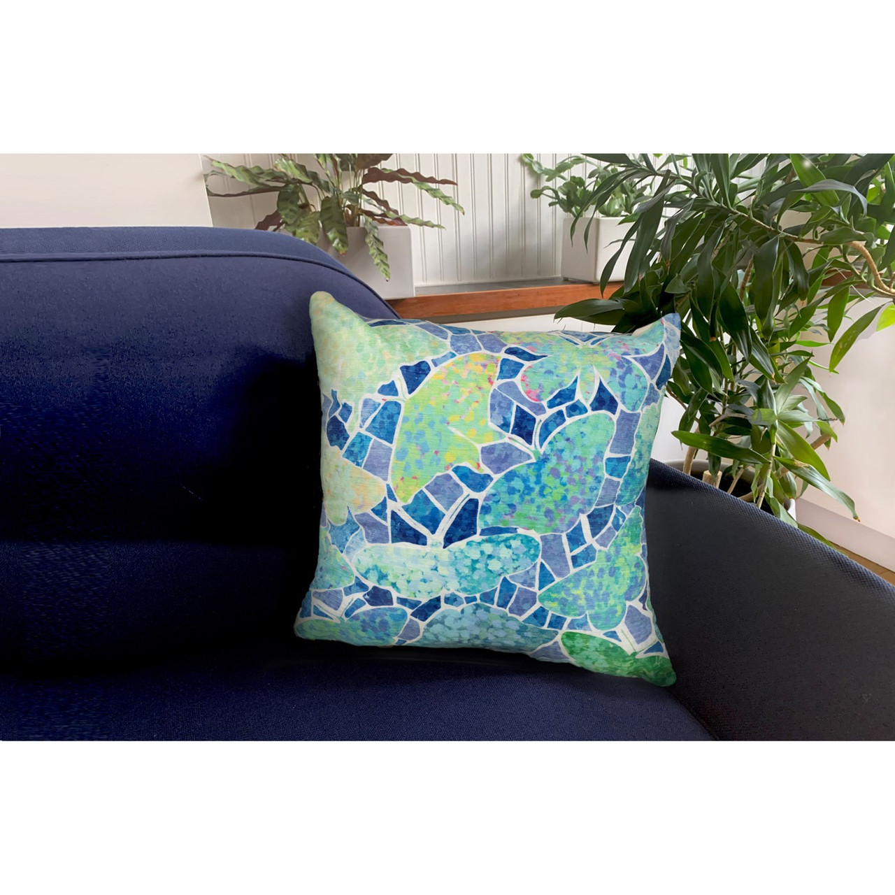 """Illusions Blue Butterfly Indoor/Outdoor Throw Pillow - 18"""" Square"""