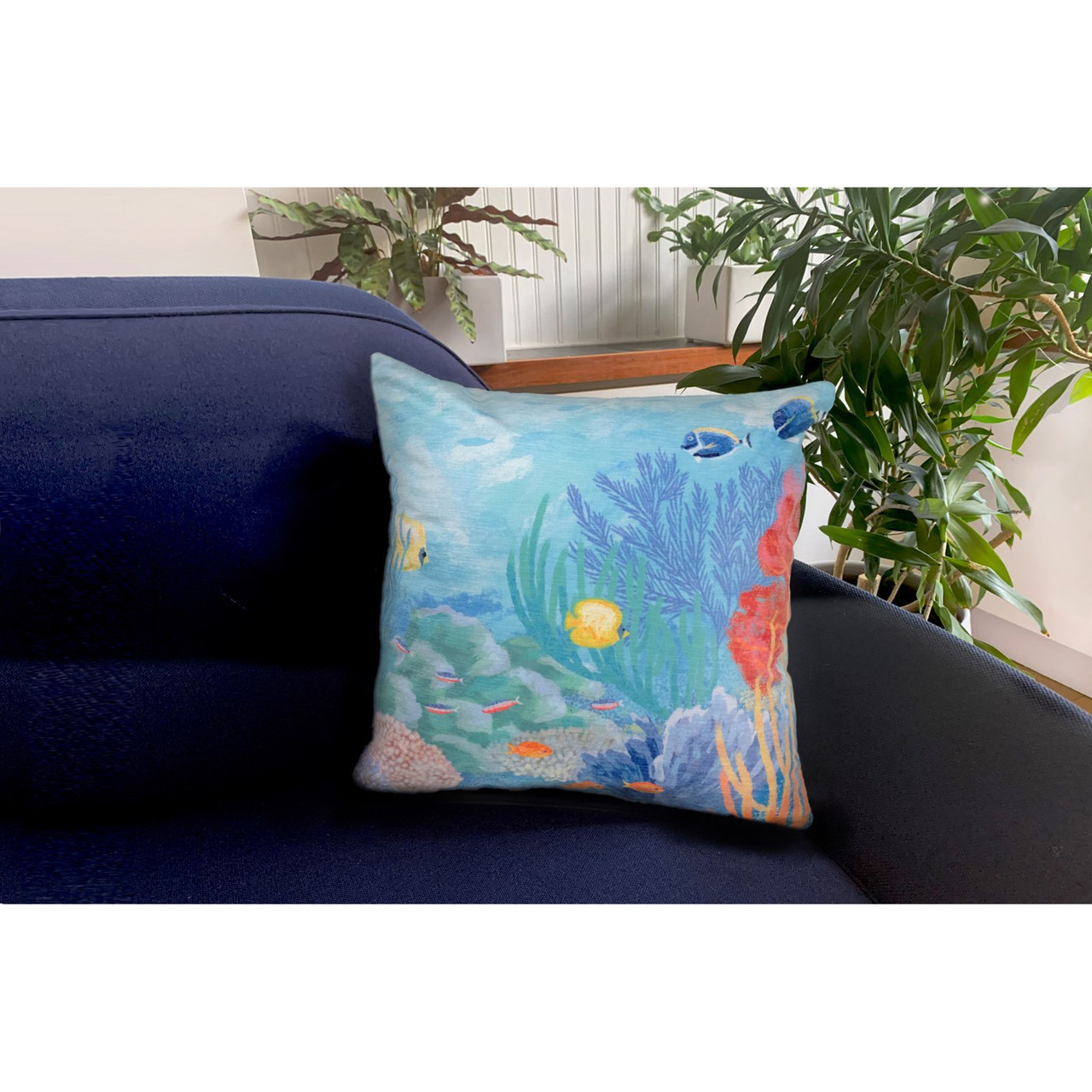 "Illusions Seascape Indoor/Outdoor Throw Pillow - 18"" Square"