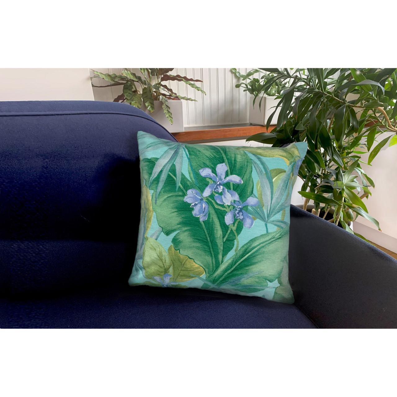 """Illusions Aqua Tropical Leaf Indoor/Outdoor Throw Pillow - 18"""" Square"""