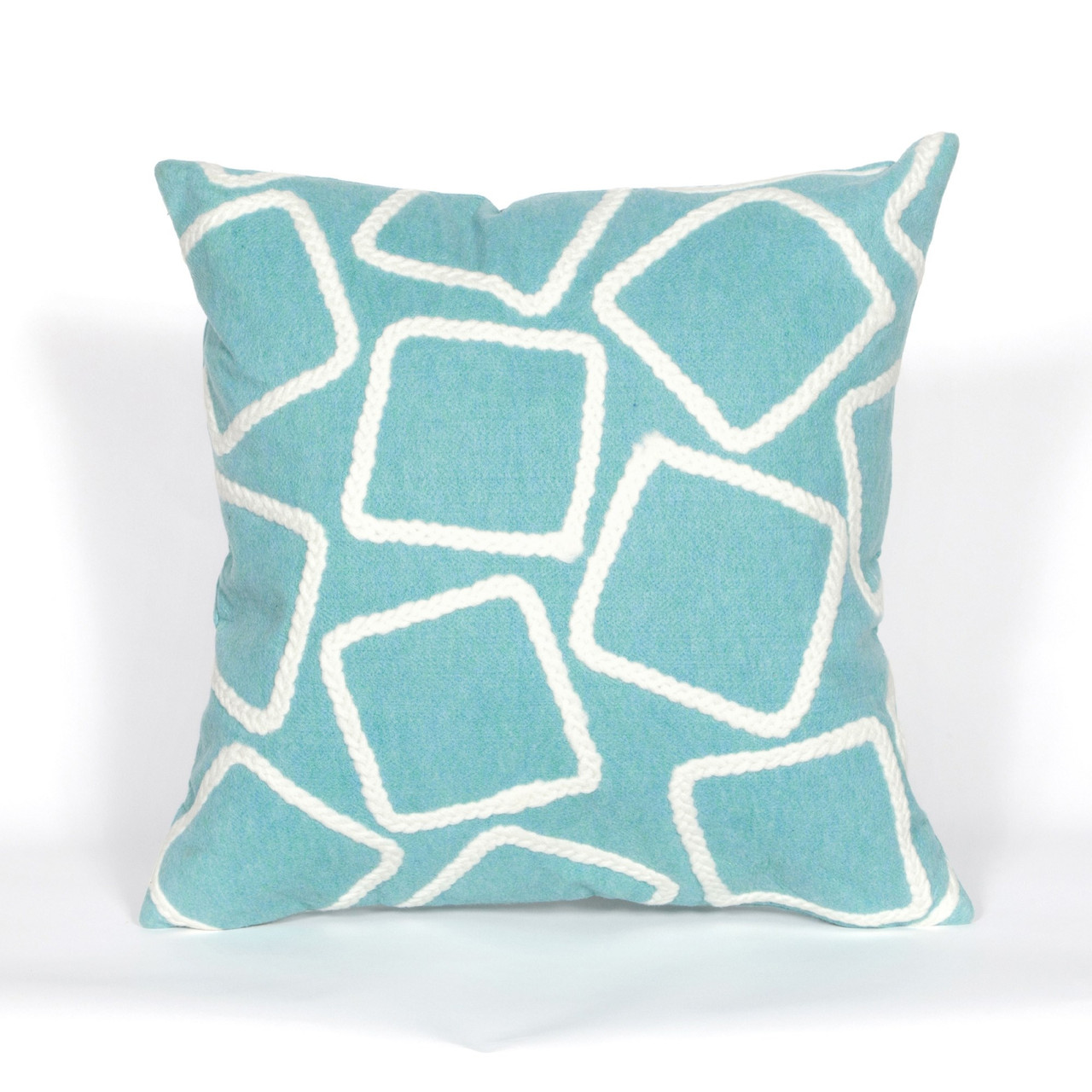 Visions Aqua Squares Indoor/Outdoor Throw Pillows - 2 Sizes Avail