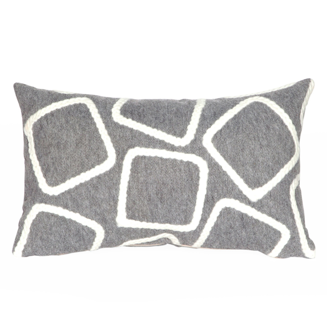Visions Silver Squares Indoor/Outdoor Throw Pillows - 2 Sizes Avail