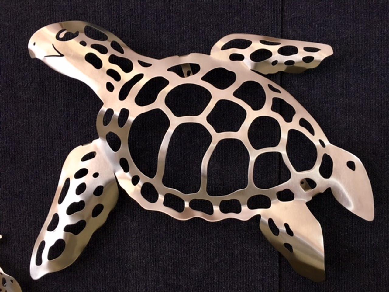 """Sea Turtle Stainless Steel Wall Decor - Medium - 23.5"""""""