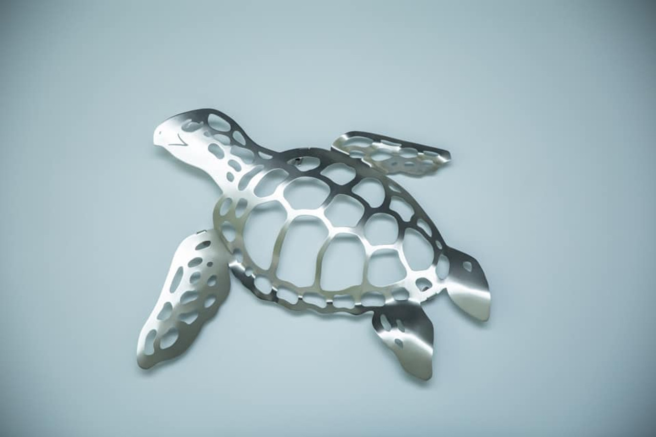 """Sea Turtle Stainless Steel Wall Decor - Small - 16.5"""""""
