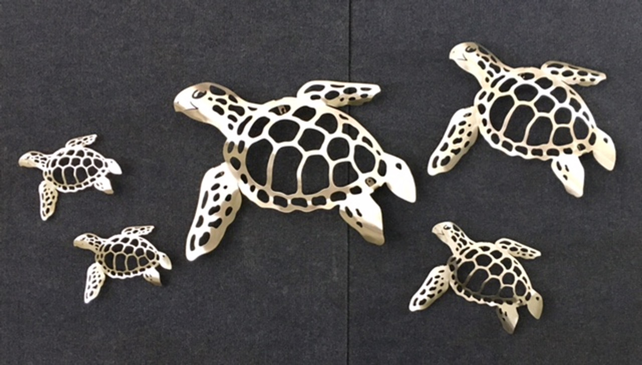 Sea Turtle Stainless Steel Wall Decor - All Sizes