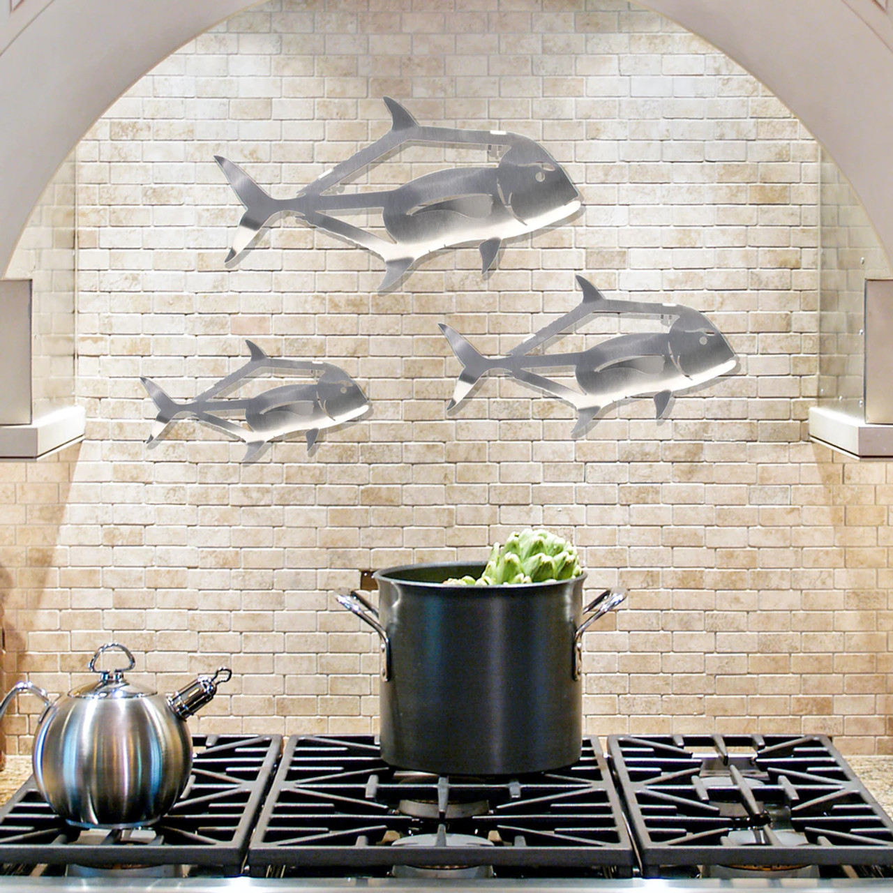 African Pompano Stainless Steel Wall Decor - Lifestyle