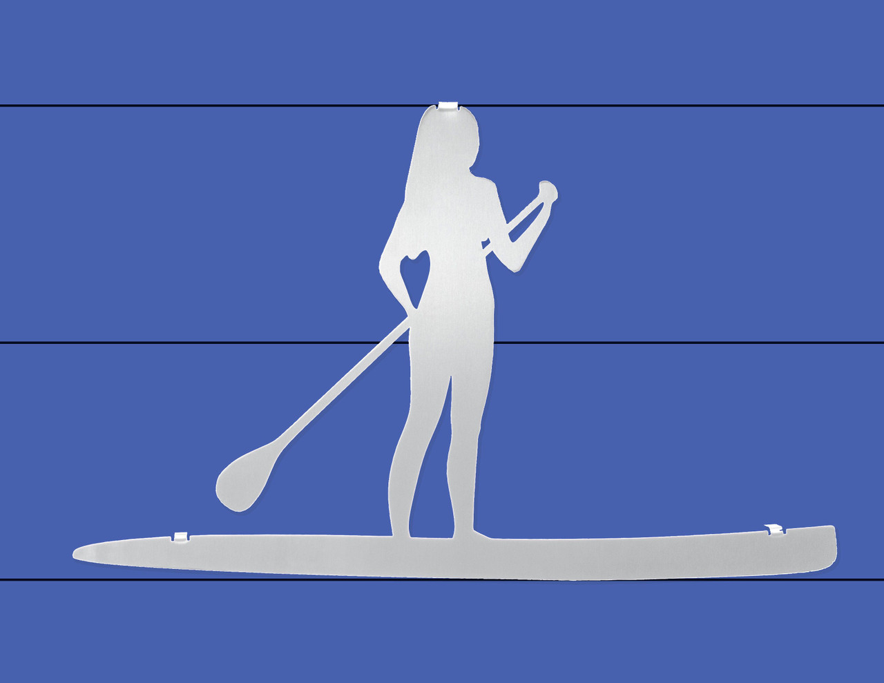 """Female Paddle Boarder Stainless Steel Wall Decor - 16.25"""""""