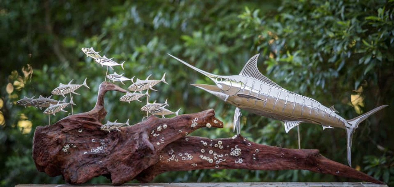 Blue Marlin Stainless Steel Wall Decor – Lifestyle