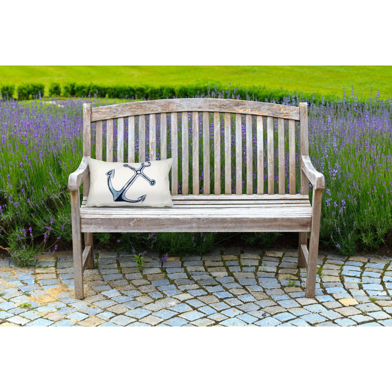 Visions II White Anchor Indoor/Outdoor Throw Pillows - 2 Sizes Avail