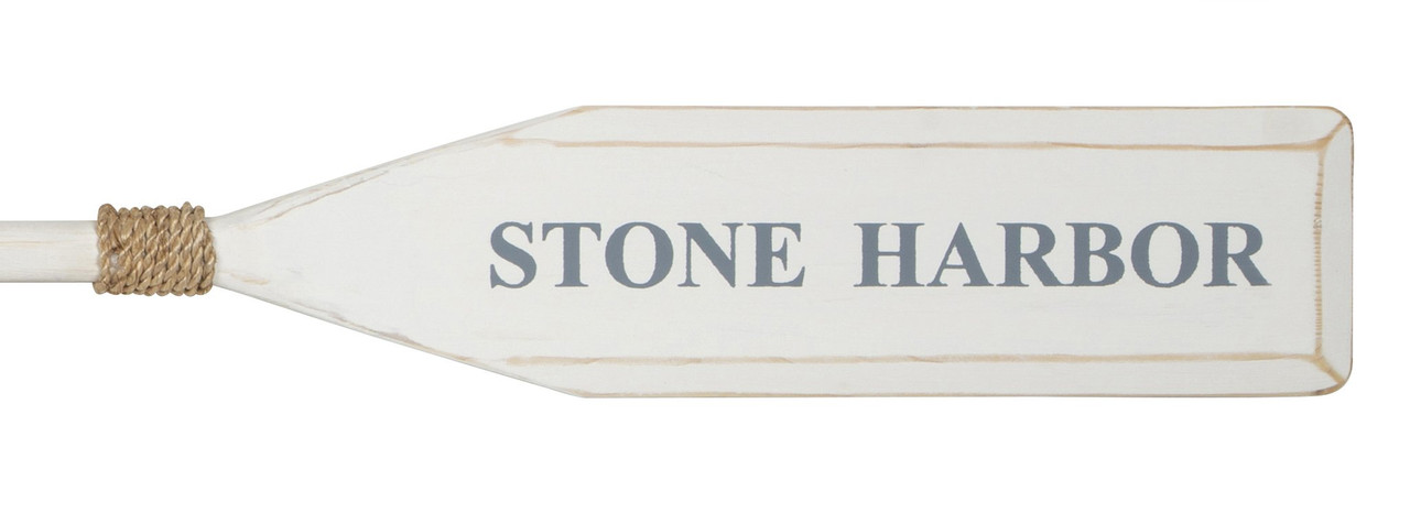 """Wood Paddle with Rope (5' 5"""") - White/White with Nantucket Blue """"STONE HARBOR"""""""