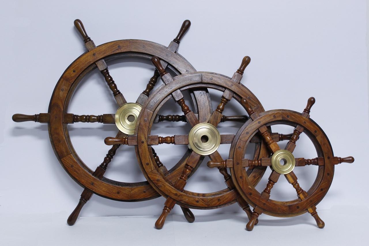 "Standard Decorative  Wooden Ship Wheel - 12"""