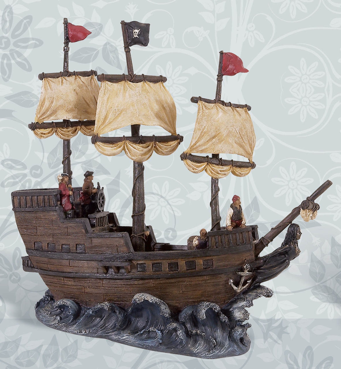 "Pirate Ship Figurine 15"""