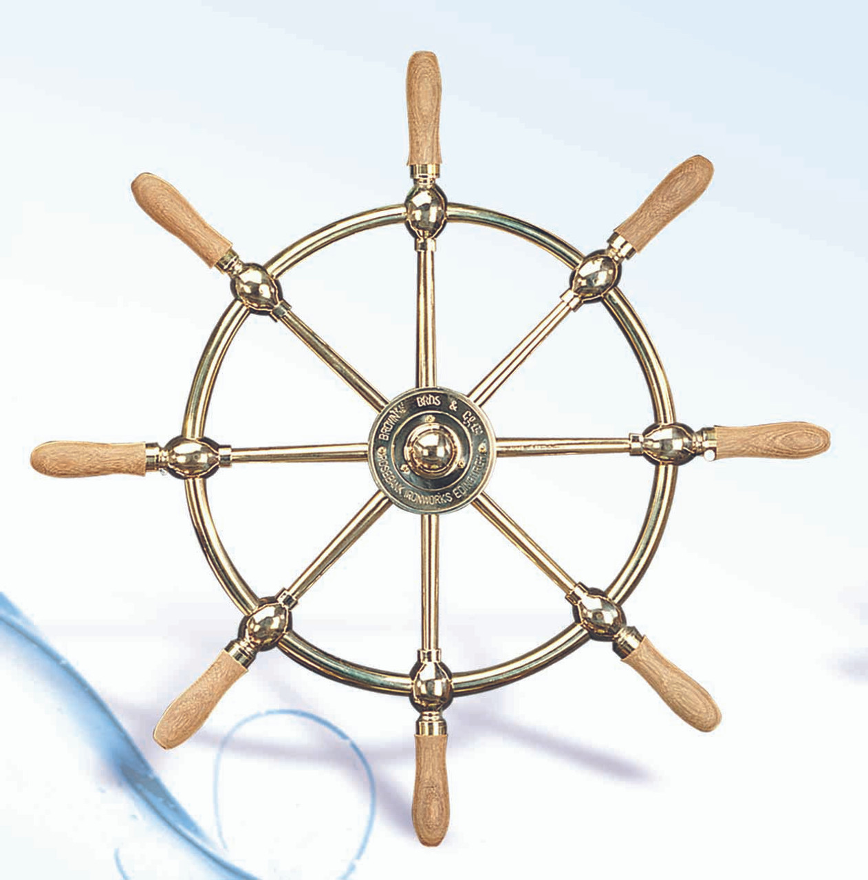 """(SW-104-18) 18"""" Brass Ship Wheel with Wooden Spokes"""