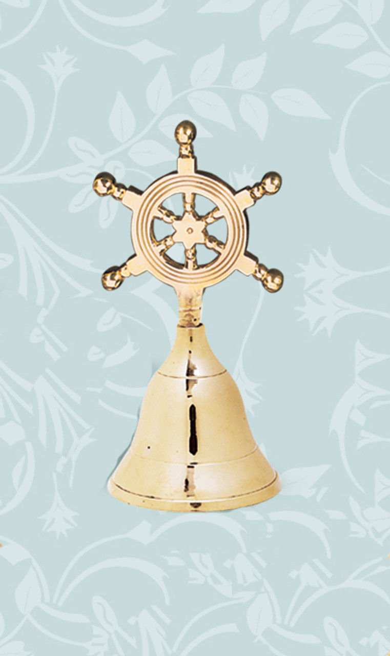 Brass Nautical Wheel Decor - Hand Bell