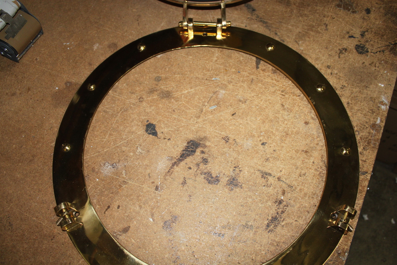 "(BP-701-21) 21"" Solid Polished Brass Porthole Mirror Opening Bezel"
