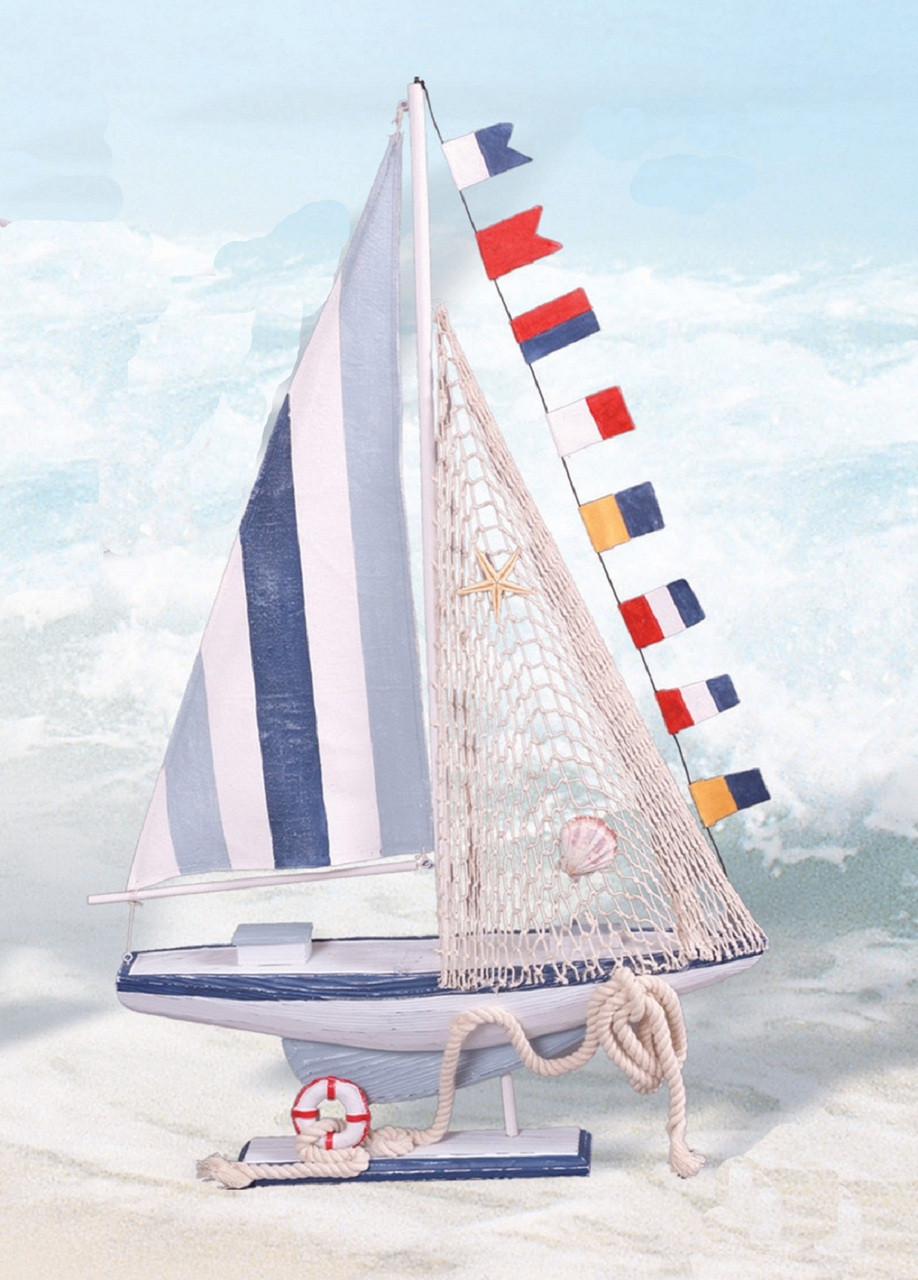 """Colorful Wooden Sailboat 28"""""""