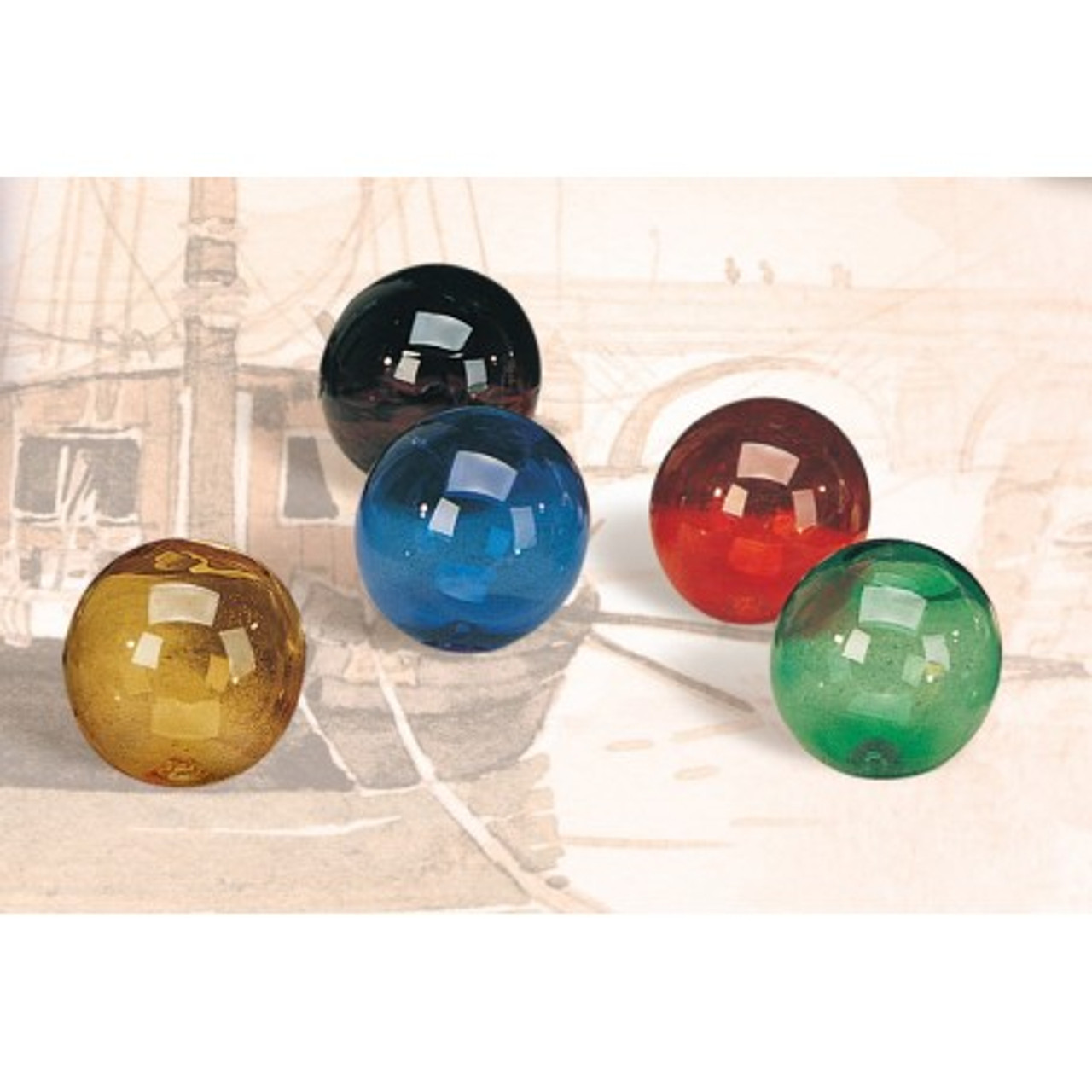 """Decorative Glass Float - 4"""" - Blue, Green, Purple, Red, or Amber"""