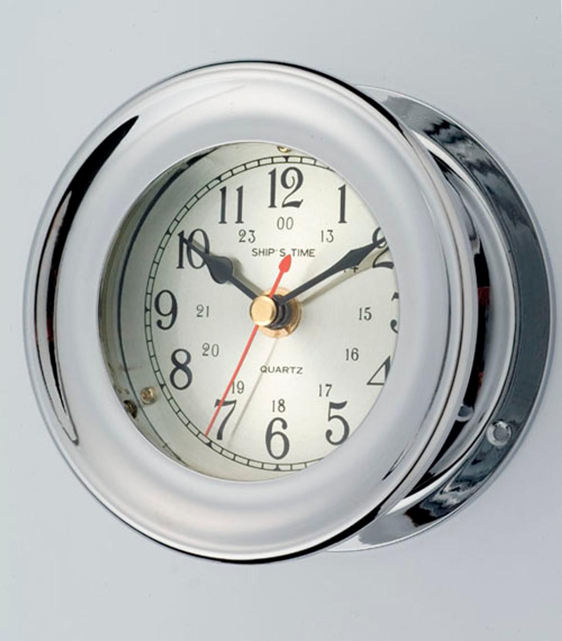 Brass Porthole Clock with Nickel Finish