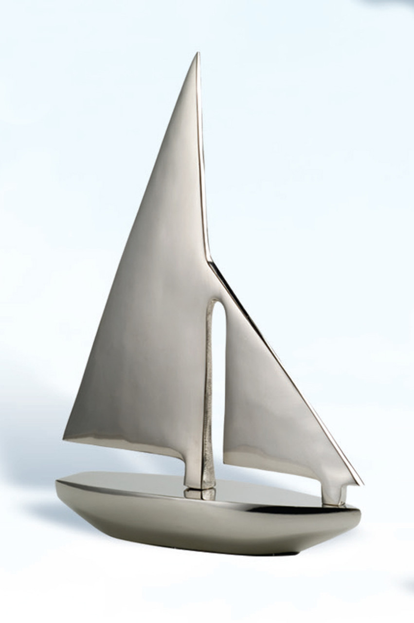 Aluminum Sailboat Decor with Nickel Finish