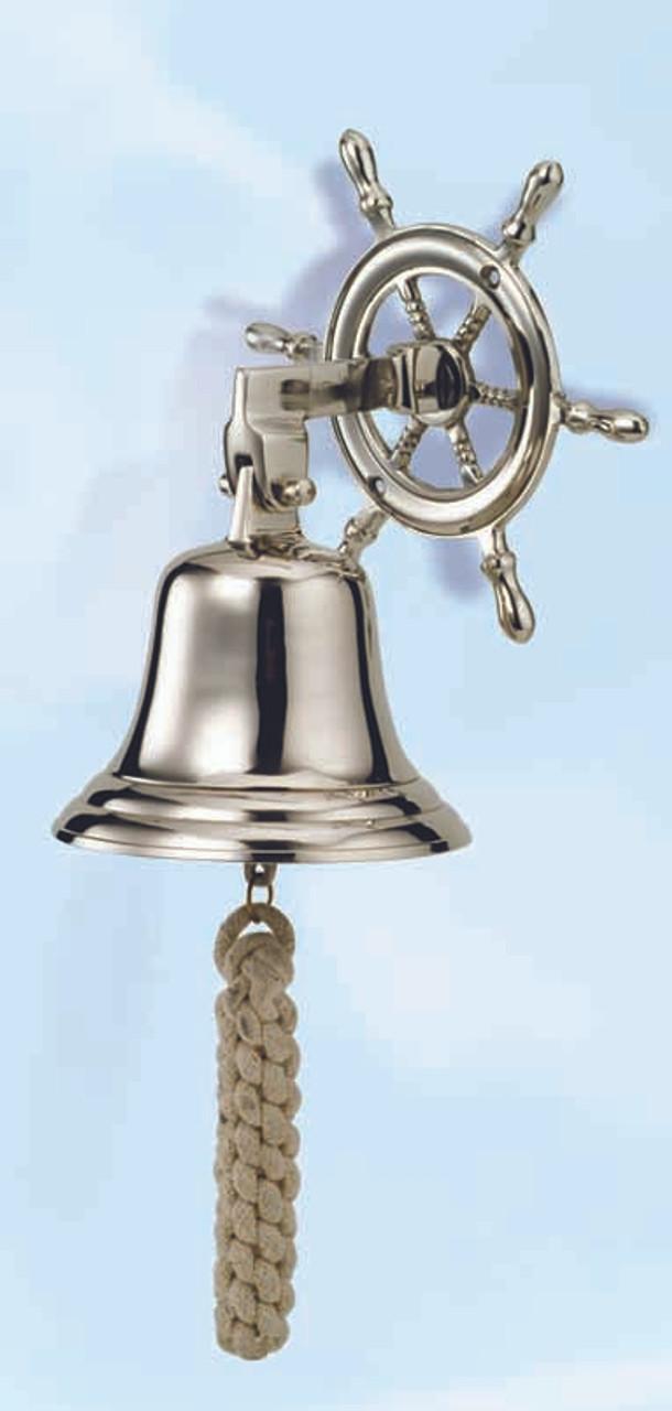 Aluminum Ship Wheel Bell with Nickel Finish
