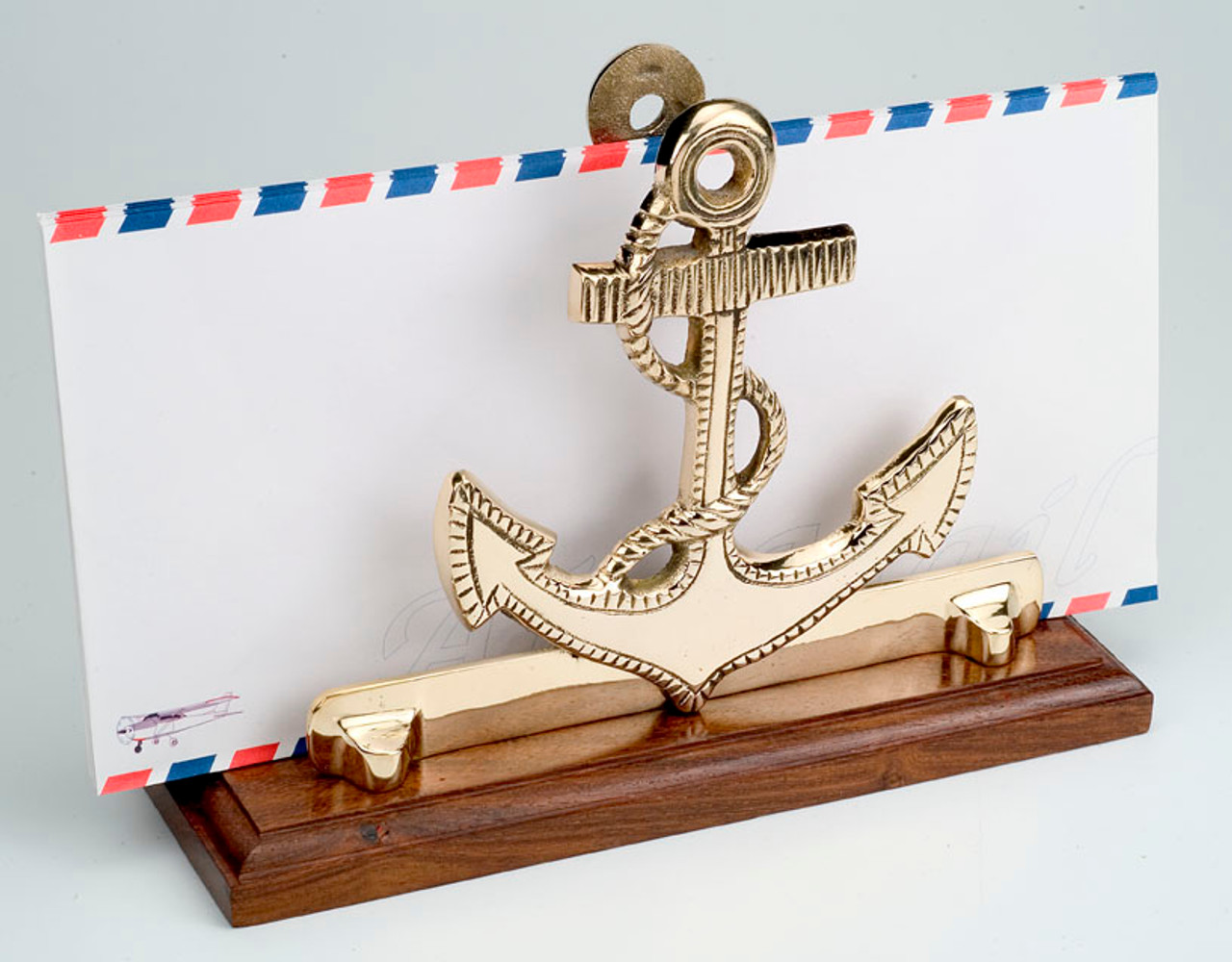 (BW-591) Polished Brass Anchor Letter Holder with Wooden Base