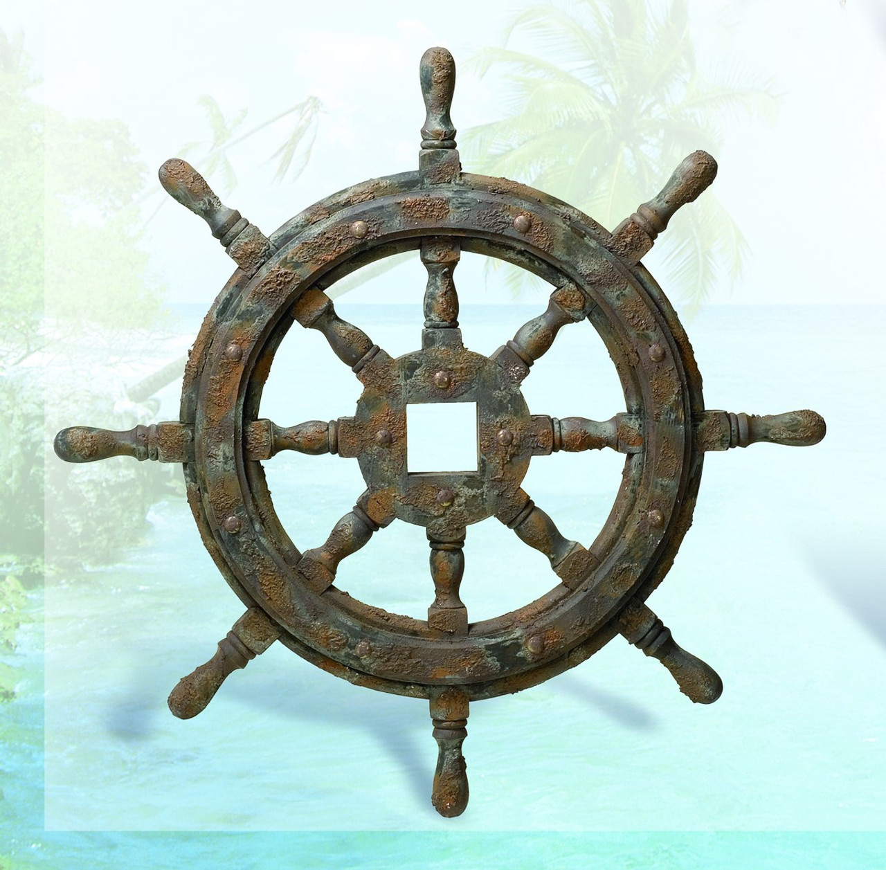 "Nautical Ship Wheel Decor - Antique Finish - 27"""