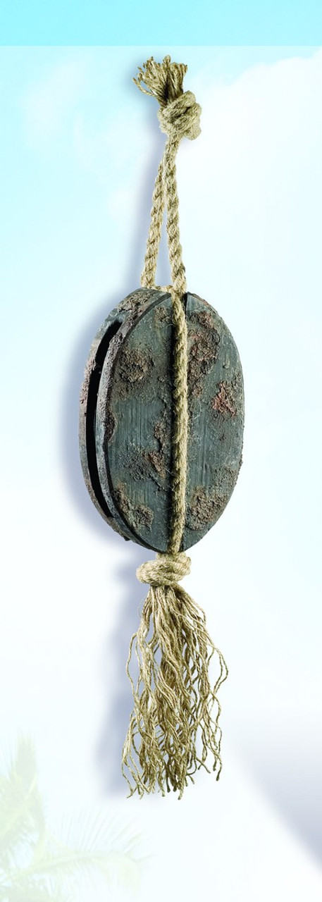 """(BK-02)  22"""" Decorative Nautical Wooden Pulley with Antique Finish"""