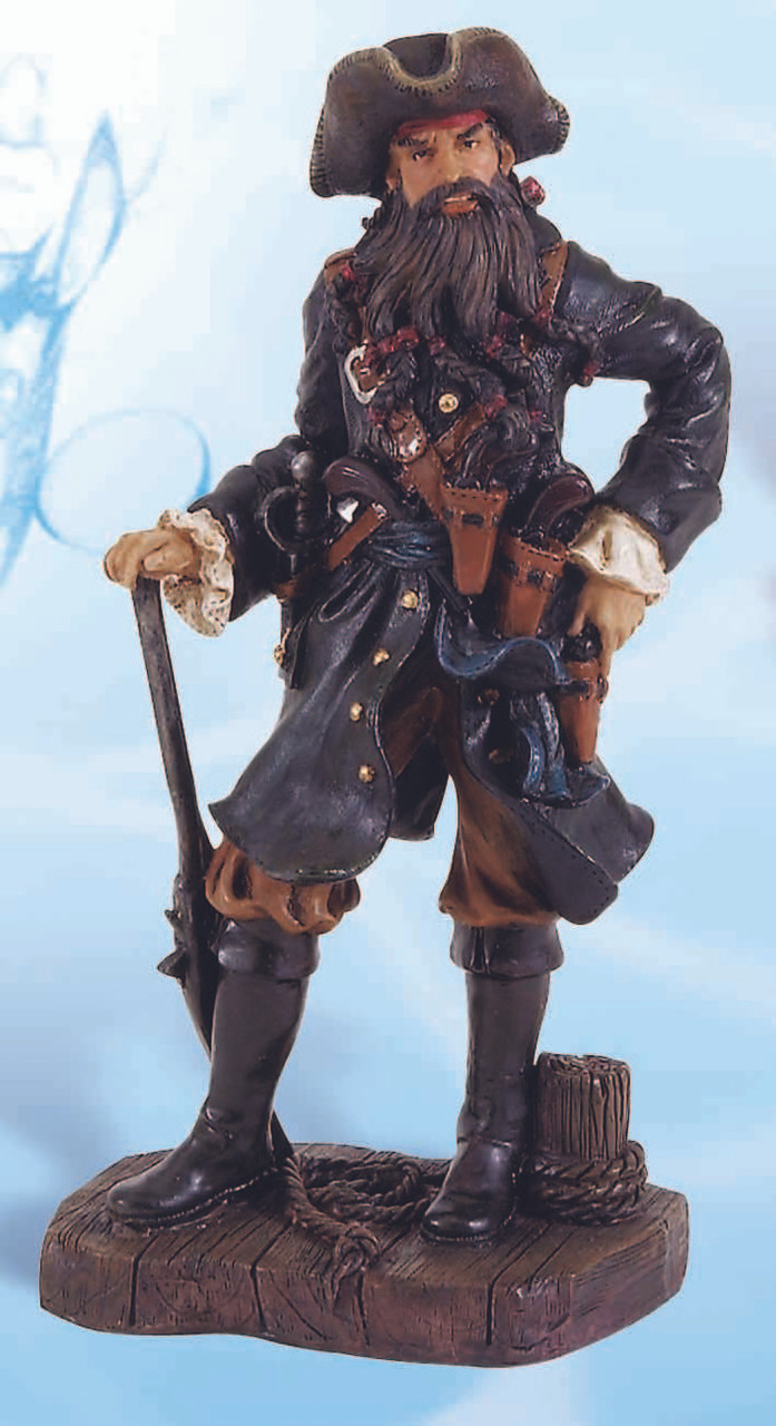 Long Beard Pirate with Blue Coat Figurine 25""