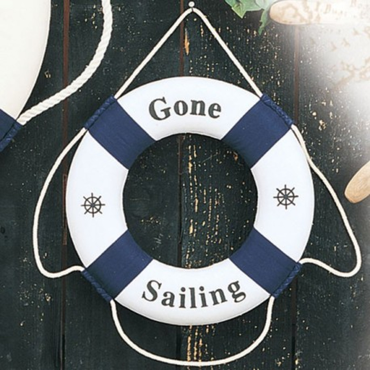 "Decorative Life Ring - Blue ""Gone Sailing"""