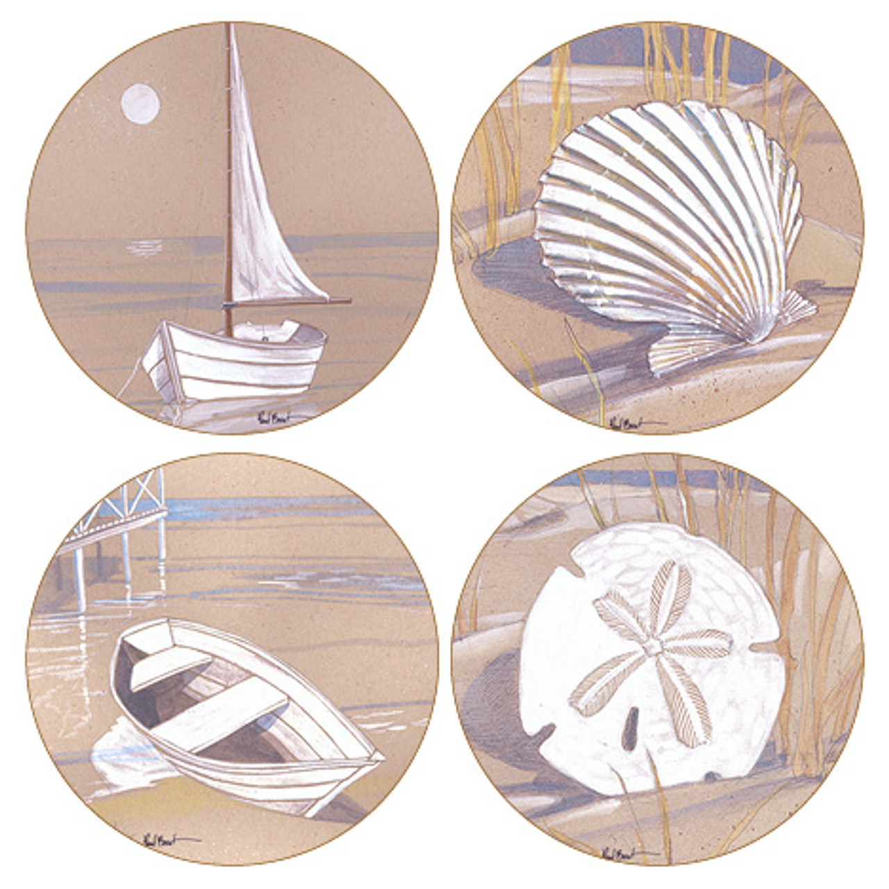 Boats and Shells Round Sandstone Coasters