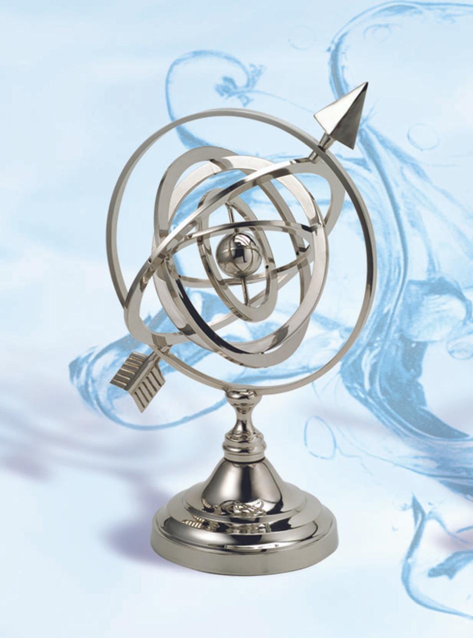 "(BW-655CV) 11.5"" Brass Armillary Sphere with Nickel Finish"
