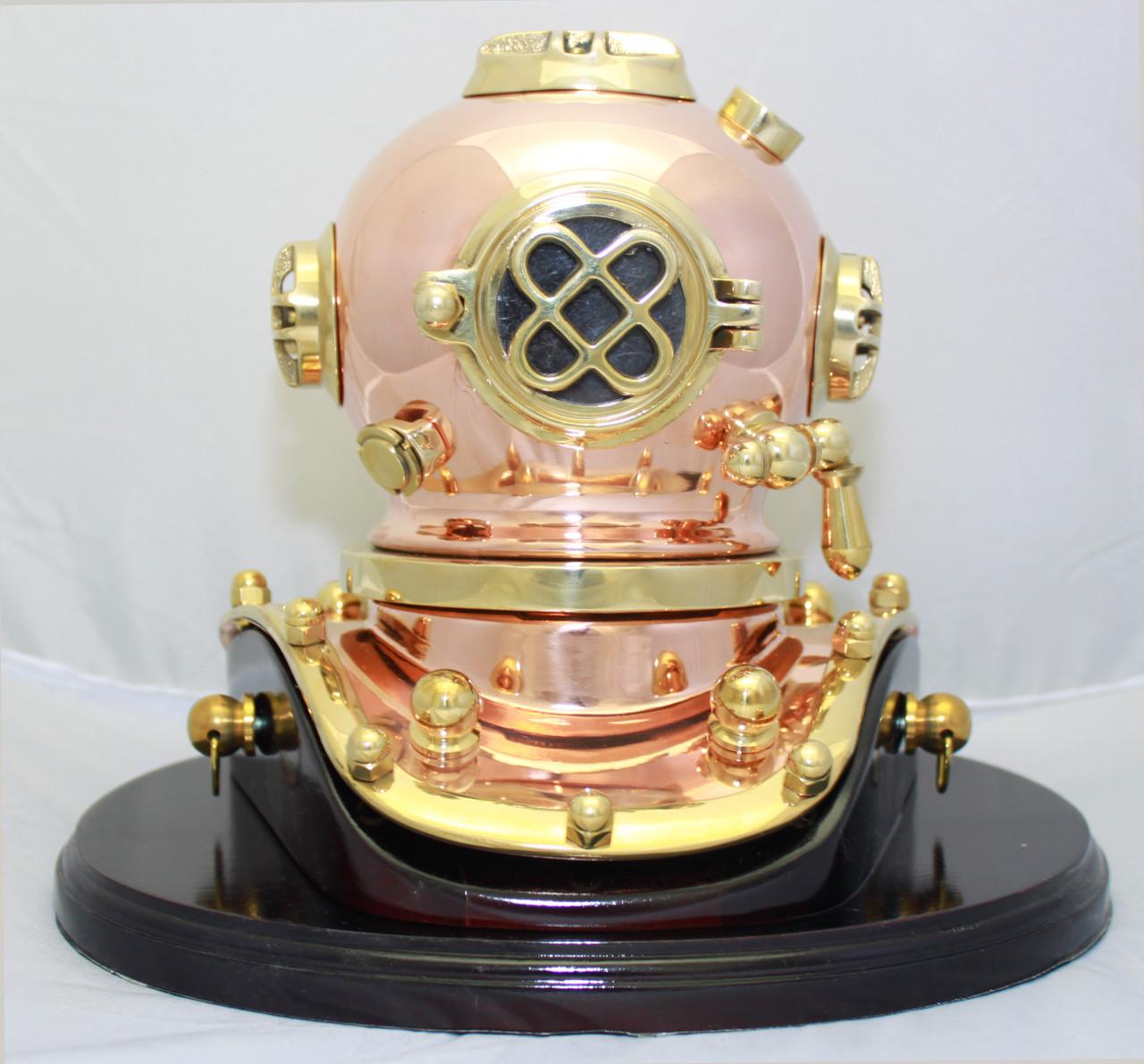 """Brass Mark V Diving Helmet with Wooden Base - 7.5"""""""