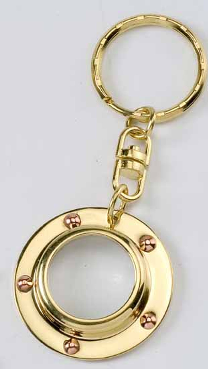 Brass Key Chain - Porthole with Magnifying Glass