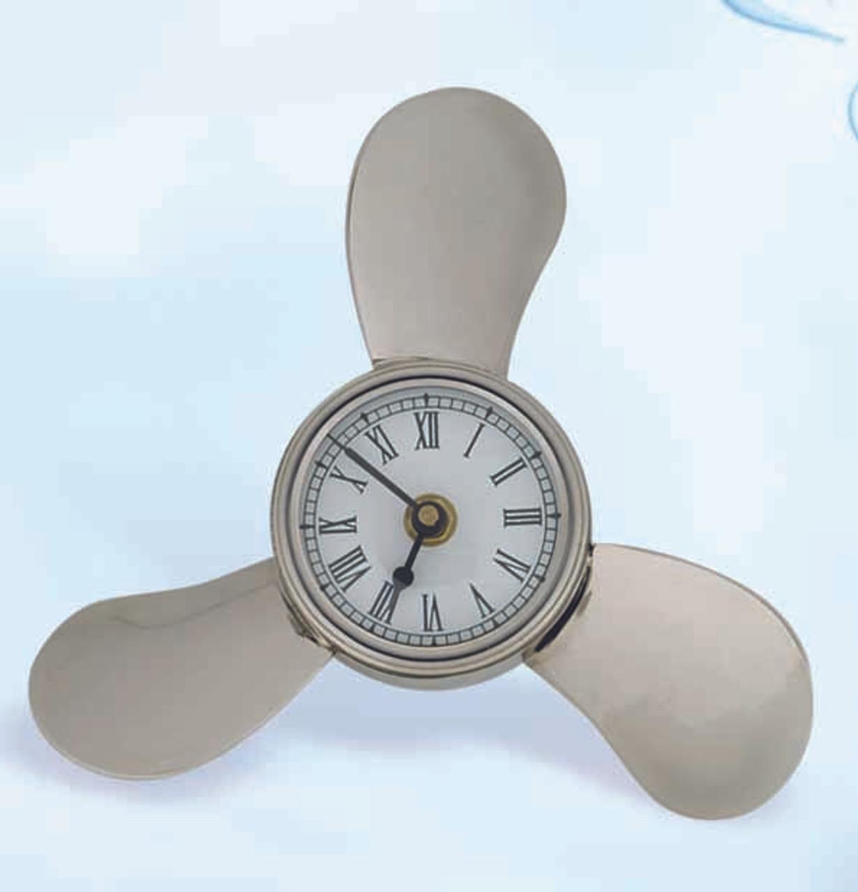 Deluxe Brass Propeller Clock with Nickel Finish