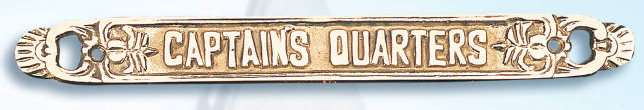 """(BP-715A)  Lacquered Brass """"Captain's Quarters"""" Wall Plaque"""