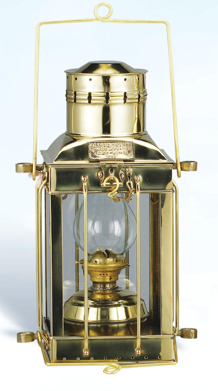 """(BL-836 Oil)  15"""" Oil Burning Brass Cargo Lantern"""