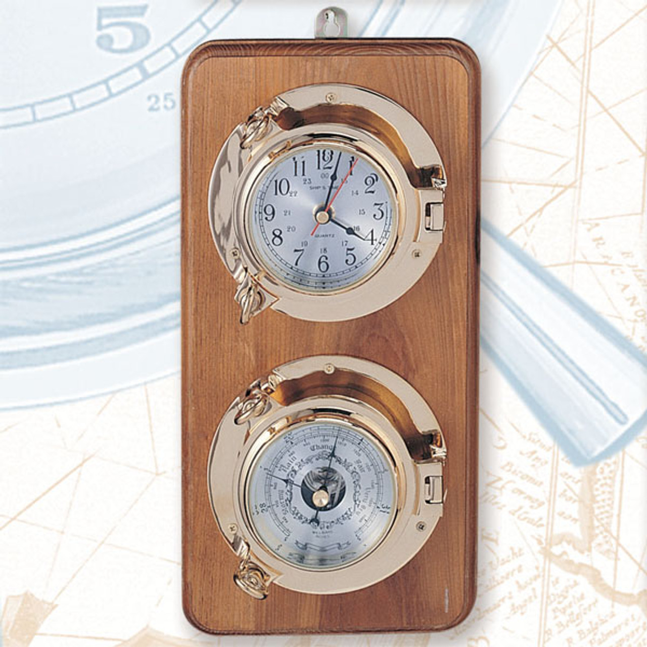 """(262-2 LC)  12.5"""" Premium Lacquer Coated Porthole Clock and Barometer on Wooden Base"""