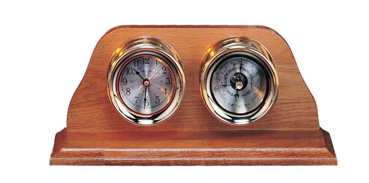 "(TK-210A-LC) Premium 4.5"" Clock and Barometer with Lacquer Coating and Wooden Base"