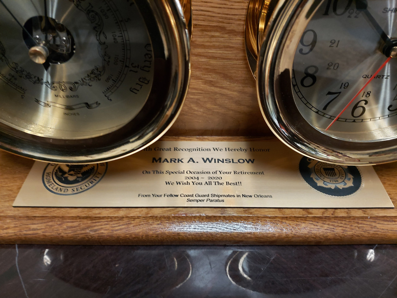 """Premium Clock and Barometer with Wooden Base - Lacquer Coated - 4.5"""" - Optional Personalization"""