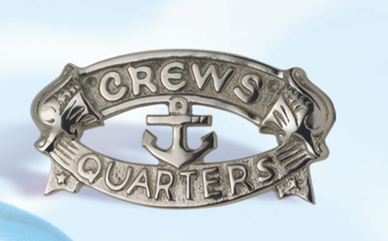 """(BP-716A)  Aluminum """"Crew's Quarters"""" Wall Plaque with Polished Nickel Finish"""
