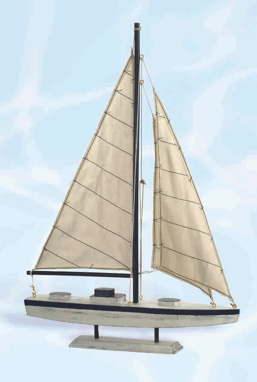 "Decorative Wooden Sailboat - 17.75"""