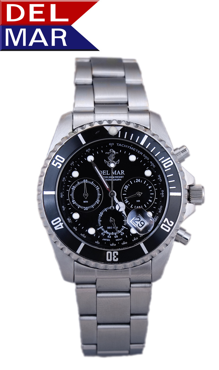 Del Mar Men's 200M Chronograph Anchor Dial Watch - Black Face