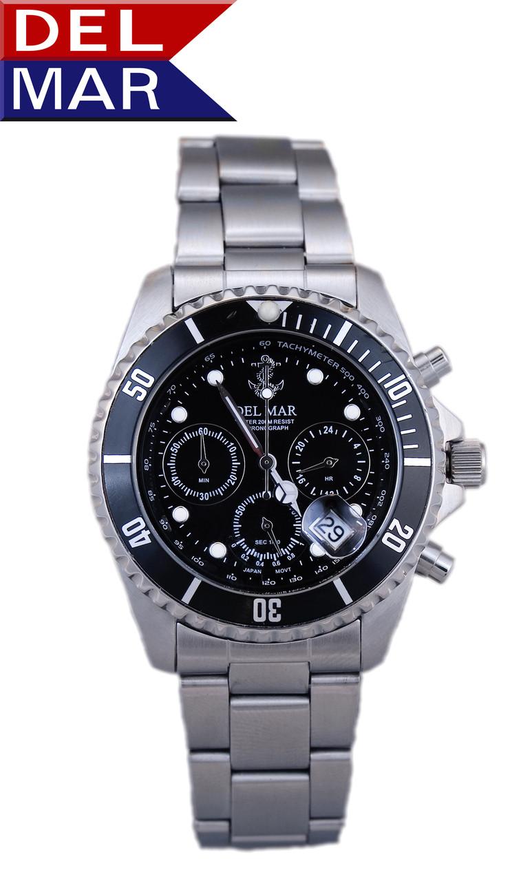 Del Mar Men's 200M Chronograph Anchor Dial Watch - Black Face