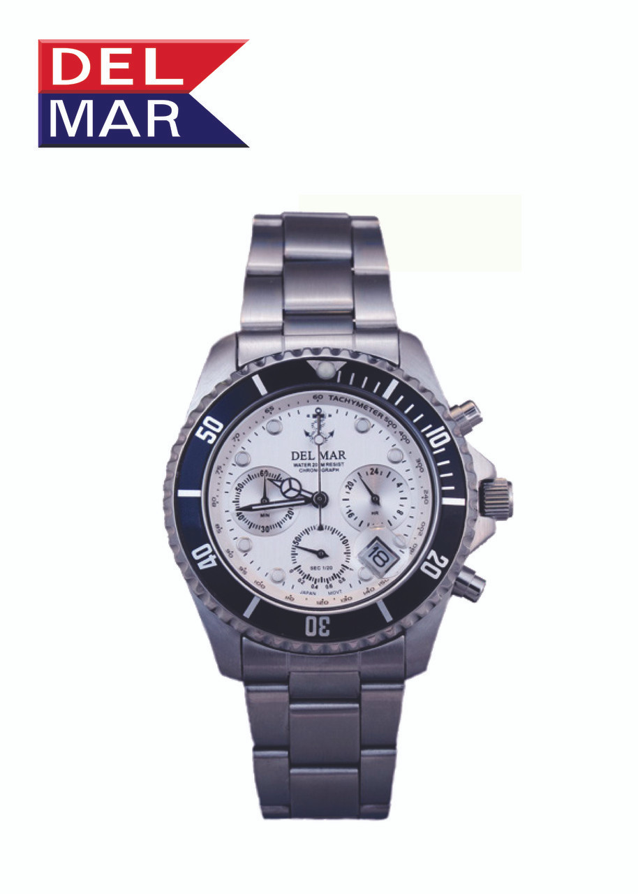 Del Mar Men's 200M Chronograph Anchor Dial Watch - White Face