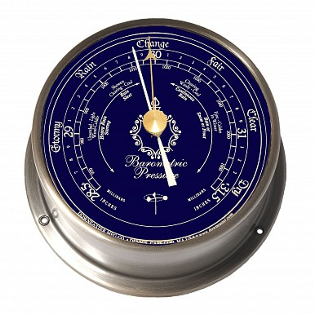 Downeaster Barometer Nautical Instrument, Blue Face - 6""