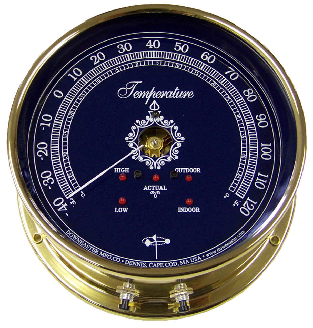 "Downeaster Temperature Gauge Weather Instrument, Blue Face - 6"""