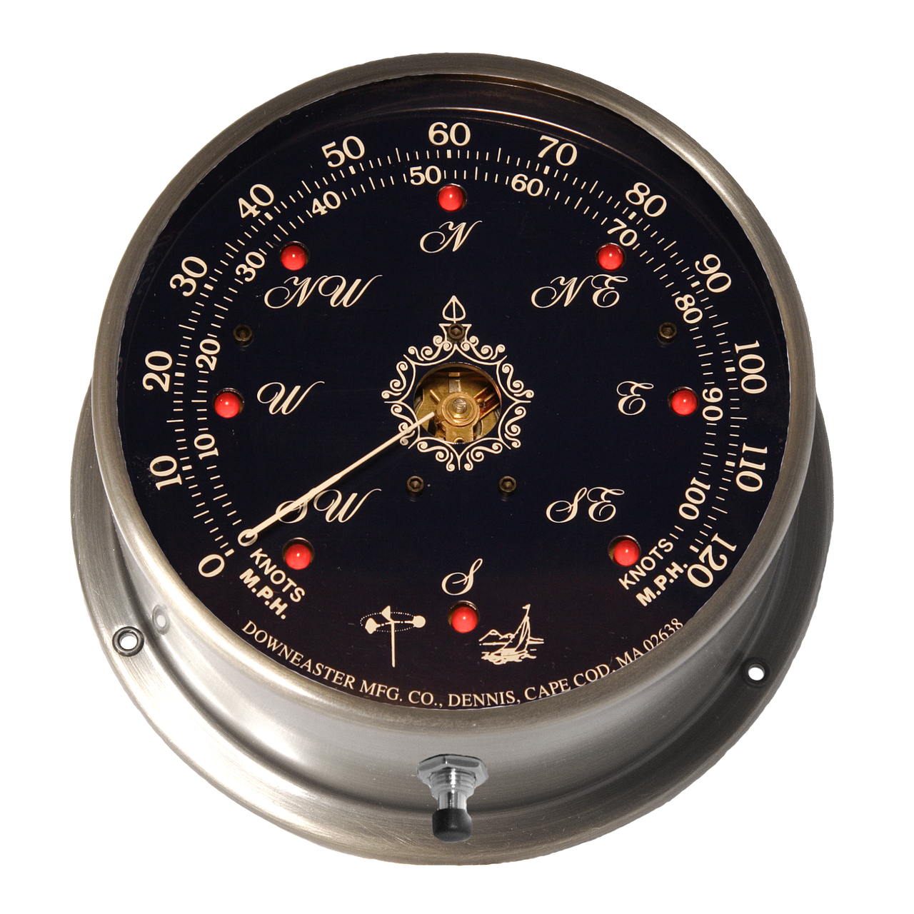 """Downeaster Wind Speed and Direction Gauge with Tru Gust, White Face - 6"""""""