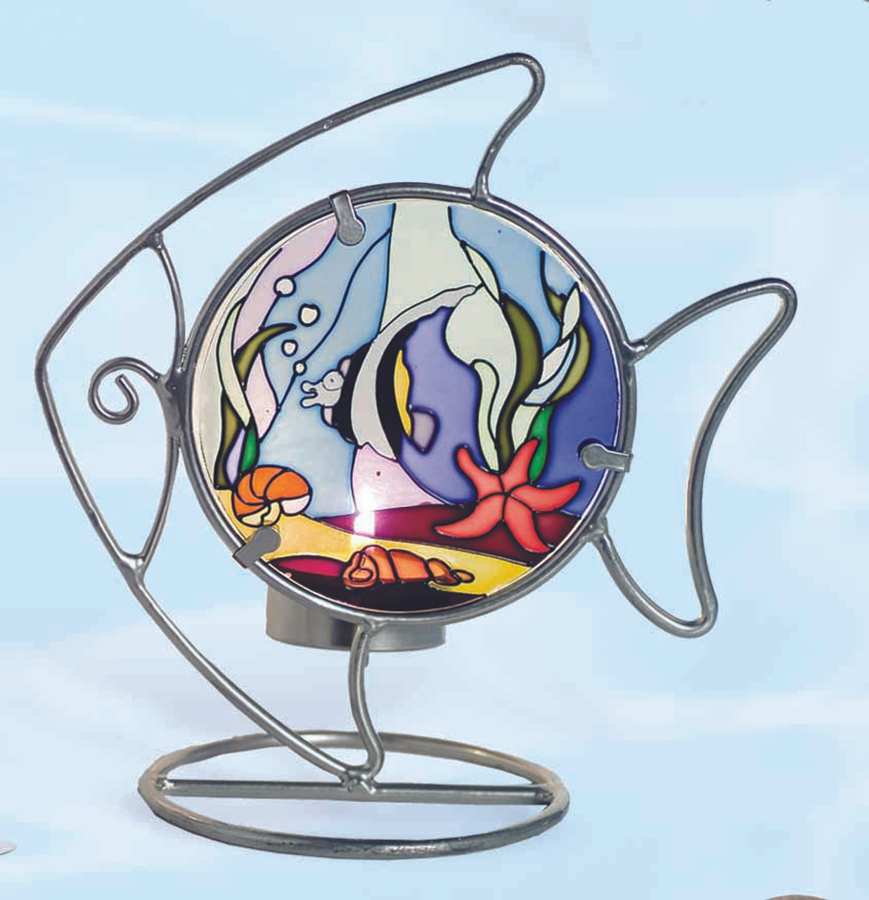 Stained Glass Candle Holder -  Fish