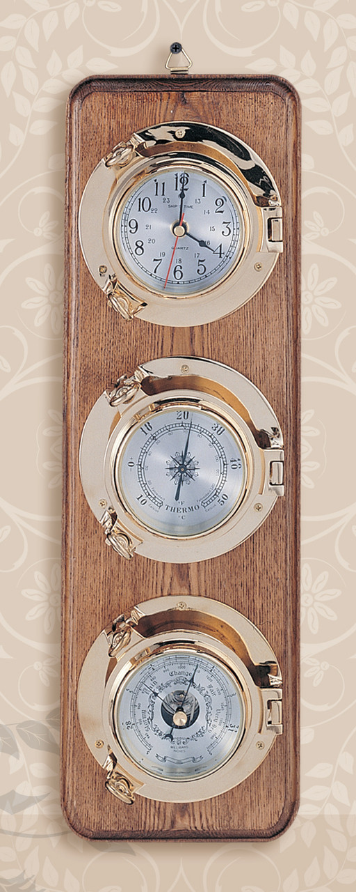 """(262-3LC)  21"""" Lacquer Coated Premium Porthole Clock, Barometer, and Thermometer on Wooden Base"""